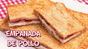 Empanada de pollo, jamón, bacon y queso