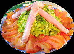 Ensalada de jamón, tomate y lechuga