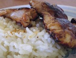 Pollo agridulce con duraznos