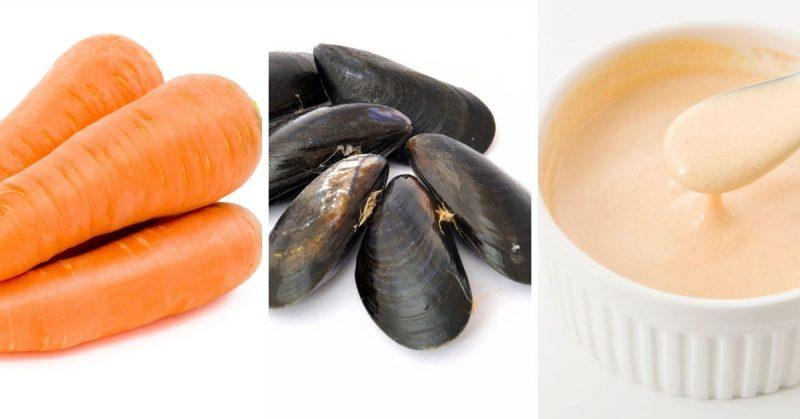 zanahorias mejillones salsa golf